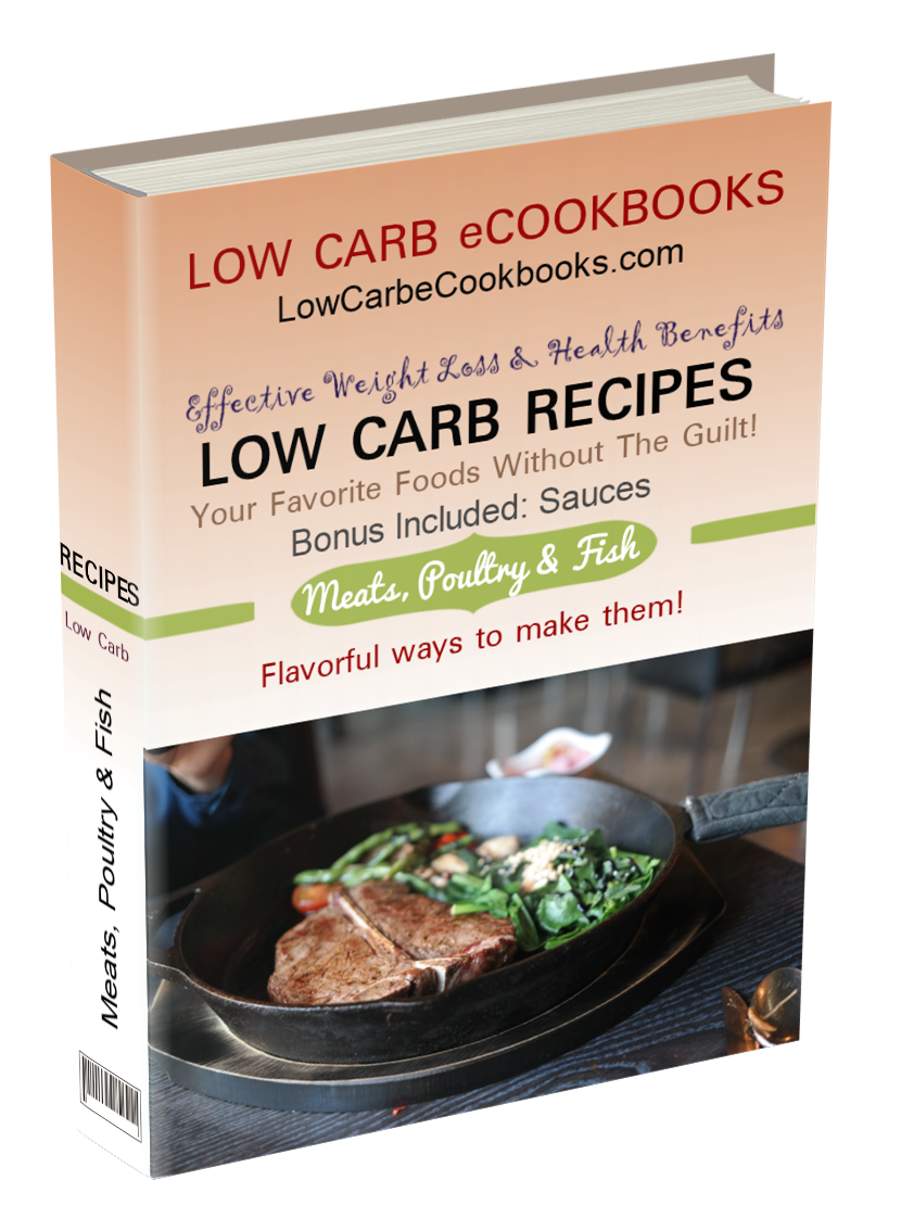 Includes low carb chicken recipes, low carb pizza, low carb ground beef recipes, low carb shrimp recipes and more!